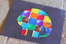 Sponge Painted Elmer the Elephant - Buggy and Buddy